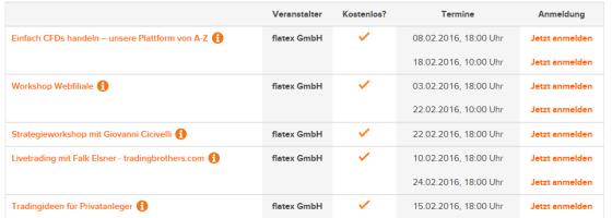 Webinare Liste von flatex