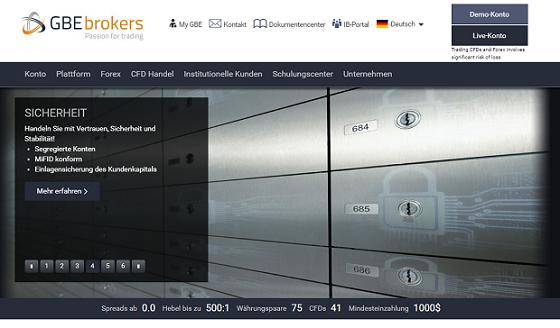 GBE Brokers Webseite