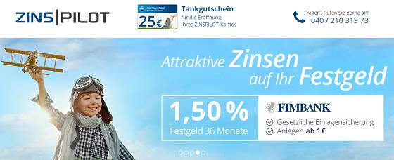 Zinspilot bietet attraktive Festgeldzinsen