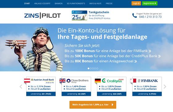 Zinspilot Webseite