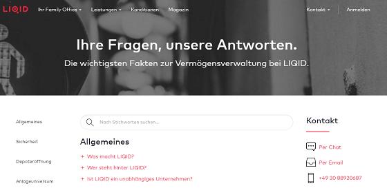 LIQID FAQ Bereich