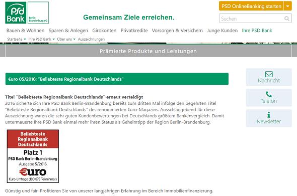 PSD Bank Berlin-Brandenburg Auszeichnung