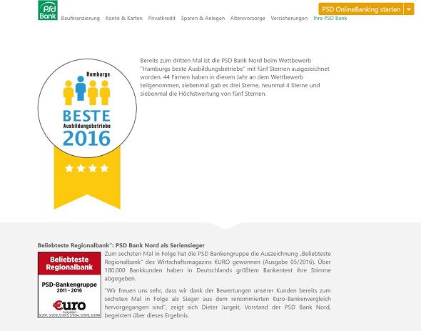 PSD Bank Nord Auszeichnung