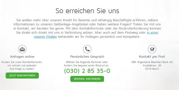 ABK Bank Kundenservice