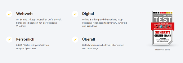Postbank Auszeichnung, Postbank Kontomodelle