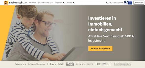 Zinsbaustein.de Homepage