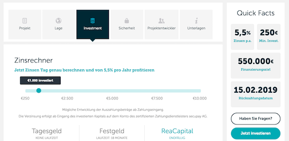 ReaCapital Projekt Informationen