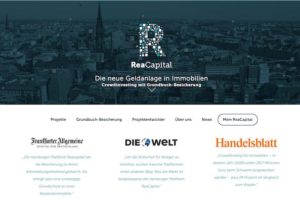 ReaCapital Webseite