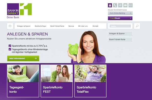 Bank11direkt Webseite