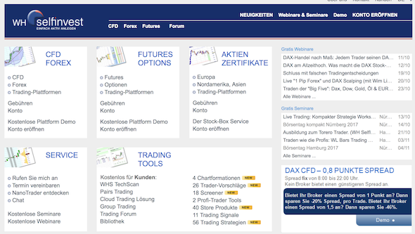WH SelfInvest Homepage
