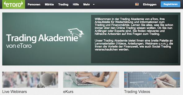 Weiterbildung wird bei eToro großgeschrieben - die Trading-Akademie bietet viele wertvolle Informationen rund um den Online-Handel
