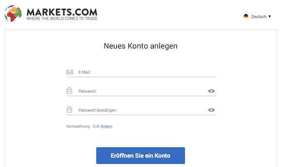Markets.com Kontoeröffnung