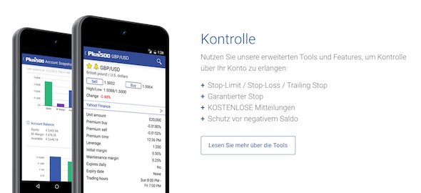 Plus500 mobile Handel