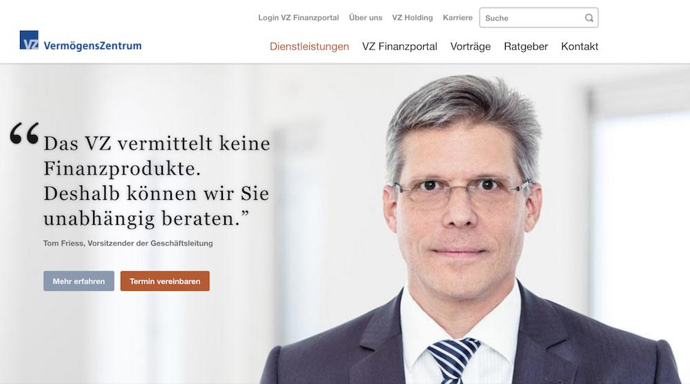 VermögensZentrum Webseite