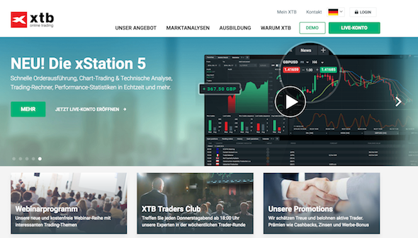 Die xStation 5 Handelsplattform bietet viele Tools für Anleger des Online-Brokers XTB