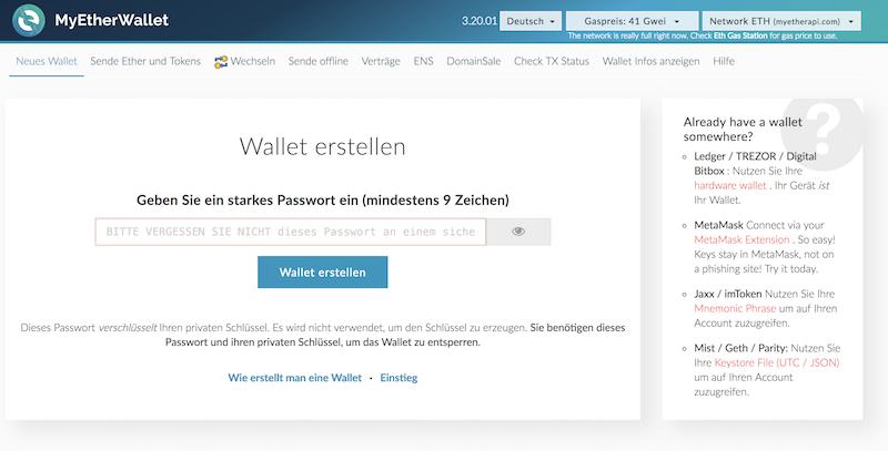 MyEtherWallet Webseite