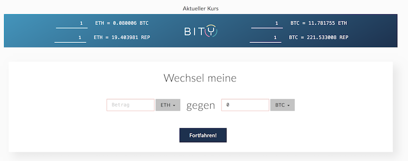 Ether in Bitcoins tauschen