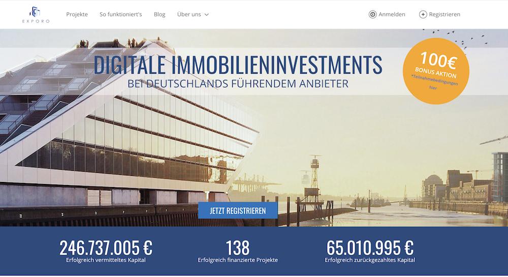 Die übersichtliche Webseite von Exporo zeigt verschiedene Investment-Daten an
