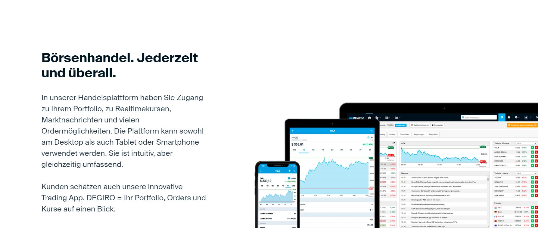 DEGIRO bietet auch den mobilen Handel an