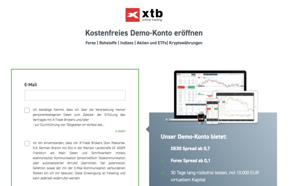 Das kostenfreie Demo-Konto von XTB steht binnen wenigen Minuten zur Verfügung