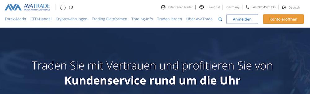 AvaTrade Webseite
