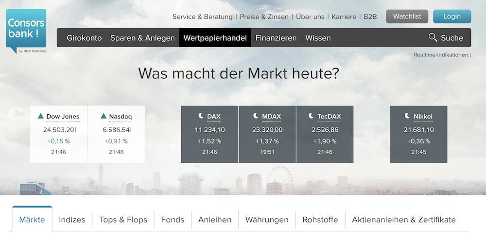 Consorsbank Handelsangebot