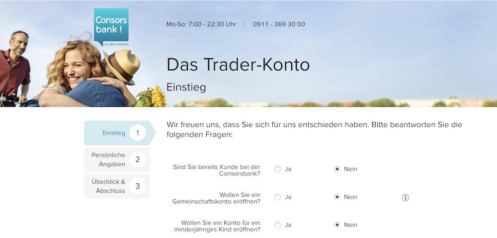 Das Trader-Konto der Consorsbank ist binnen weniger Angaben eingerichtet