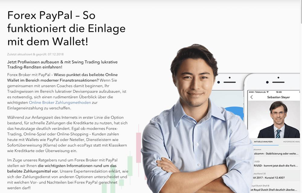 Forex Broker Einzahlung Paypal