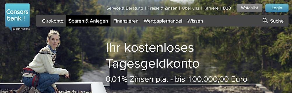 Consorsbank Tagesgeld-Zinssatz