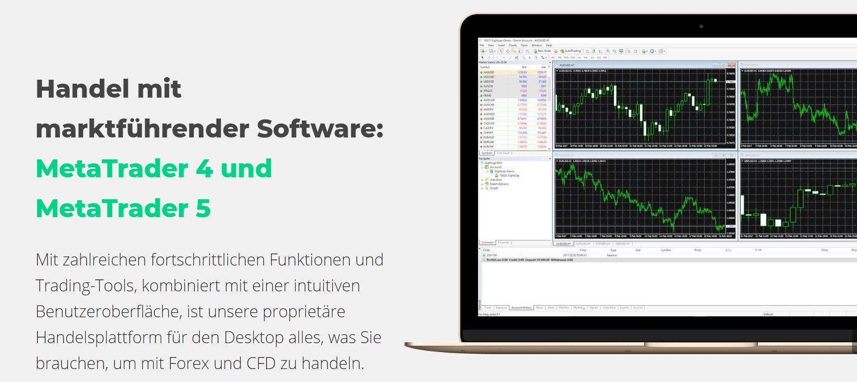 eightcap bietet den Handel mit marktführender Software an