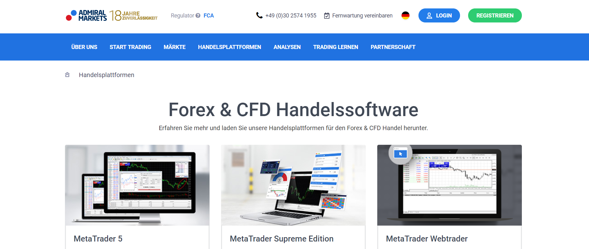 Ein Blick auf die Website von Admiral Markets