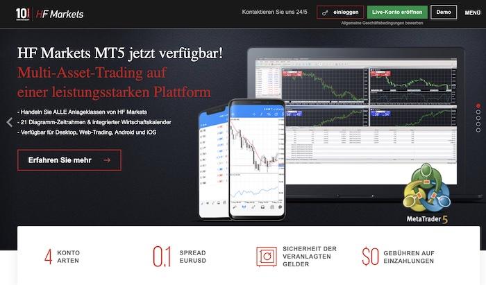 HF Markets Homepage