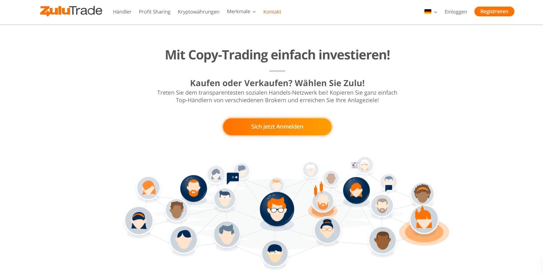 Ein Blick auf die ZuluTrade Website